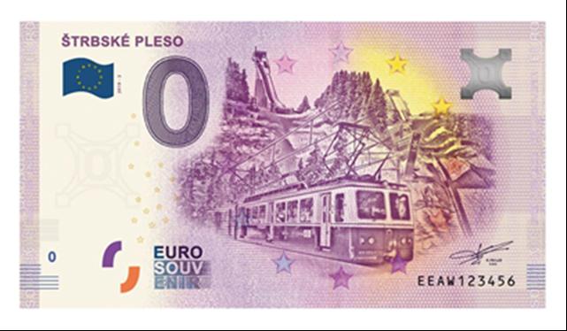 Suvenírová 0 € bankovka Štrbské Pleso